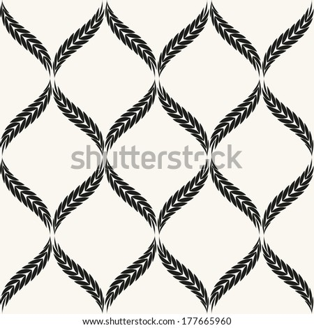 Vector seamless pattern. Floral stylish background. Graphic repeating texture with wavy branches - stock vector