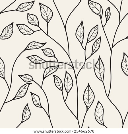 Vector seamless pattern. Floral stylish background. Linear branches with leaves - stock vector