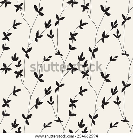 Vector seamless pattern. Floral stylish background. Silhouette of branches with leaves - stock vector