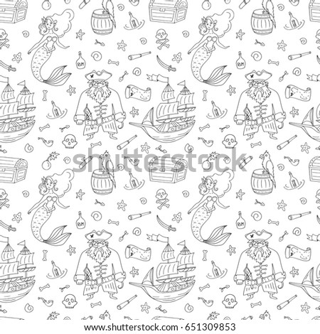 vector seamless pattern for coloring book with pirat mermaid treasure chest ship