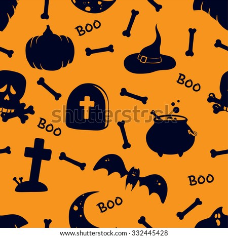 Vector seamless pattern for Halloween. Bright flat symbols for Halloween. Pumpkin, ghost, bat, skull and other items on Halloween theme. - stock vector