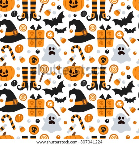Vector seamless pattern for Halloween. Pumpkin, ghost, bat, candy, and other items on Halloween theme. Bright cartoon pattern for Halloween - stock vector
