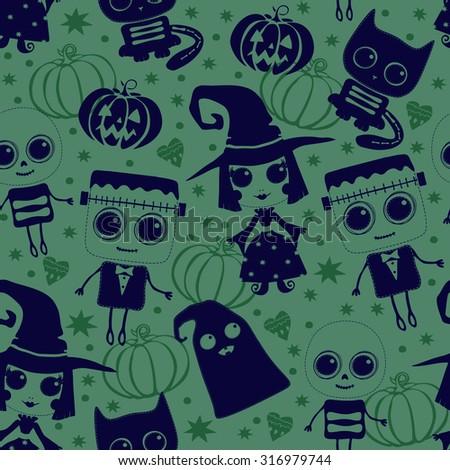 Vector seamless pattern for Halloween. Pumpkin, ghost, Frankenstein, witch, skeleton. Bright cartoon pattern for Halloween - stock vector