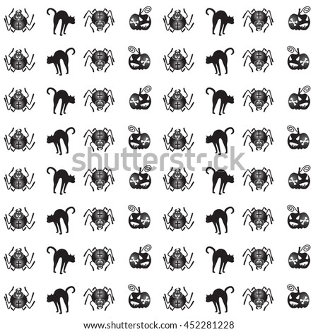 Vector seamless pattern for Halloween. Pumpkin, spider and other items on Halloween theme.