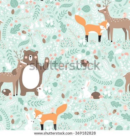 Vector seamless pattern, forest animals illustration, bear, deer, fox, rabbit, bird, hedgehog. - stock vector