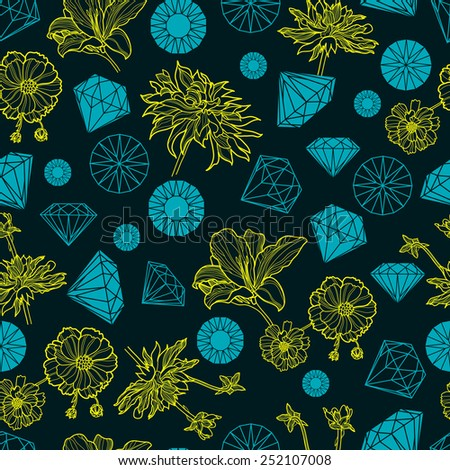 Vector seamless pattern from diamonds and flowers design elements - stock vector