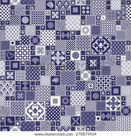Vector seamless pattern from squares with dark blue and white ornaments, stylized flowers and leaves - stock vector