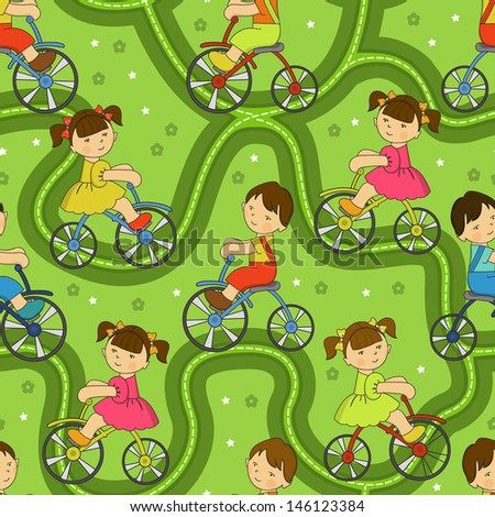 Vector seamless pattern. Funny boy and girl ride a bicycle in the park. Children ride on a bicycle on the road. Summer bike tours.