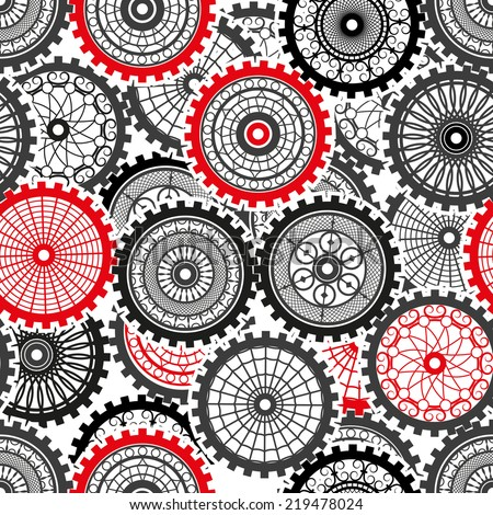 Vector Seamless Pattern gears set in the style of steampunk - stock vector
