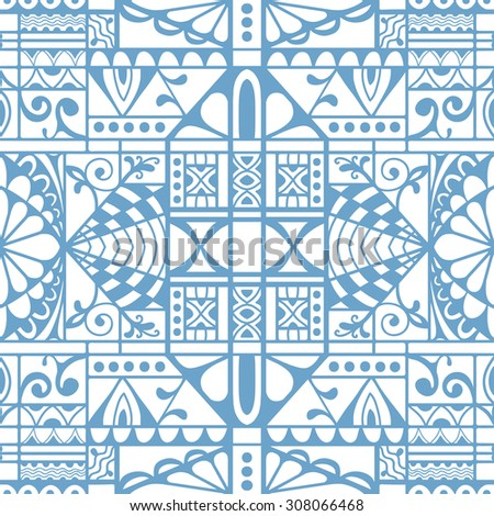 Vector seamless pattern, geometric and floral repeating texture. Tribal ethnic arabic indian ornament. - stock vector