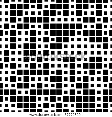 Vector seamless pattern. Geometric seamless pattern. Mosaic seamless pattern. Texture consisting of square elements. The pattern elements are arranged on a white background. Black and white.