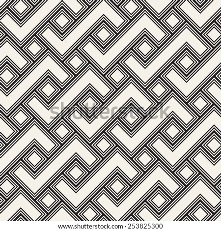 Vector seamless pattern. Geometric simple background. Rectangular linear grid - stock vector