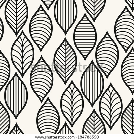 Vector seamless pattern. Geometric stylish background. Monochrome repeating texture with stylized leaves - stock vector