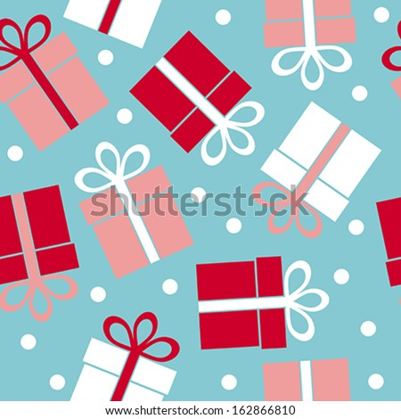 Vector seamless pattern gift on a blue background - stock vector