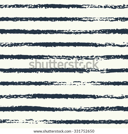 Vector seamless pattern. Grungy sketch illustration. Nautical sea background. Rough dark stripes on white background.