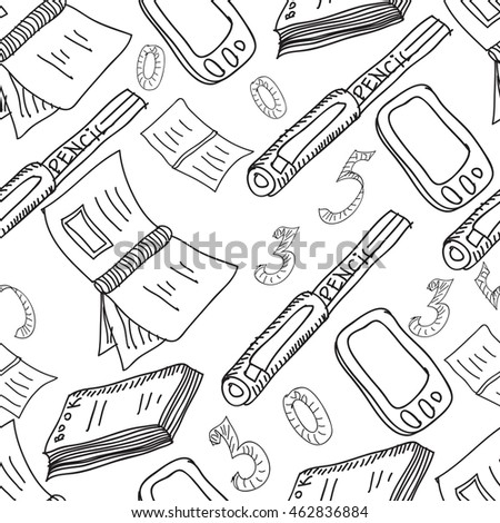 Vector seamless pattern. Hand drawn copybooks, books, pencils, telephone, calculator, numbers . Sketches.