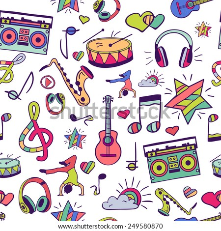 Vector seamless pattern, hand drawn, doodles. Vector design elements: notes, musical instruments, music. Illustration can be used for gift paper, websites, banners, flyers, posters, surface texture. - stock vector
