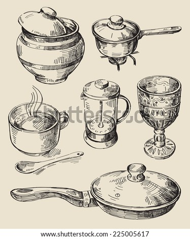 Hand draw food stock images royalty free images vectors for Kitchen set drawing