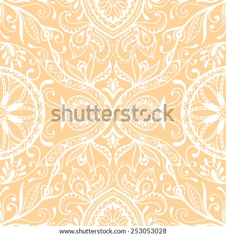 Vector seamless pattern, hand drawn sketch, tribal ethnic ornament, fabric texture. Monochrome background - stock vector