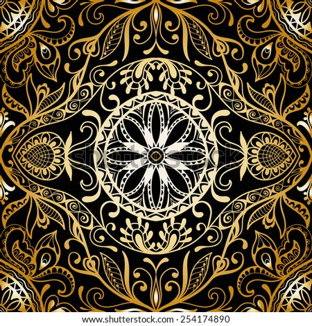 Vector seamless pattern, hand drawn sketch, tribal ethnic ornament, fabric texture. Monochrome background. Black and gold - stock vector
