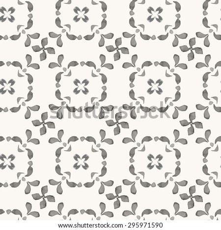 Vector seamless pattern. Hand drawn watercolor oriental ornament with strokes and leaves. Rustic monochrome decoration. For cards, banners, ethnic backgrounds. - stock vector