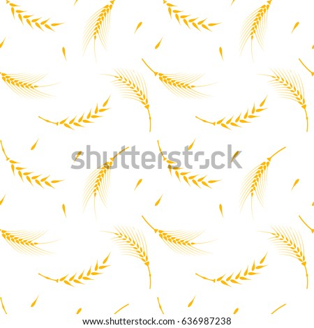 Vector seamless pattern illustration ears of wheat. Hand drawn bakery background. Whole grain, natural, organic background for bakery package, bread products.