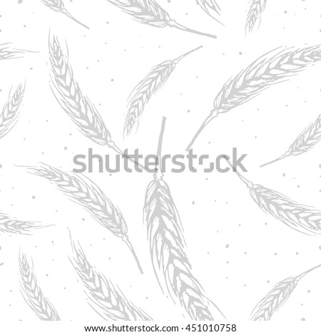 Vector seamless pattern illustration ears of wheat. Hand drawn sketch seamless pattern. malt grain, spica, wheat grain. Malt beer pattern. material for beer production. Autumn harvest. Monochrome. - stock vector