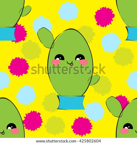 Vector seamless pattern. Illustration of kawaii smiling cactuses with cute muzzles and rain drops, morning dew, water drops. Colorful, festive, bright design, flat simple style  - stock vector