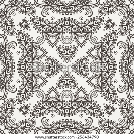 Vector seamless pattern imitating embroidery or floral lace - stock vector