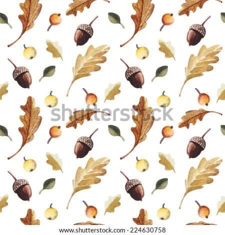Vector seamless pattern in a watercolor style. Autumn oak leaves and acorns. Vector texture. - stock vector