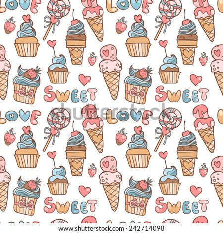 Vector seamless pattern in doodle style with sweets and hearts - stock vector