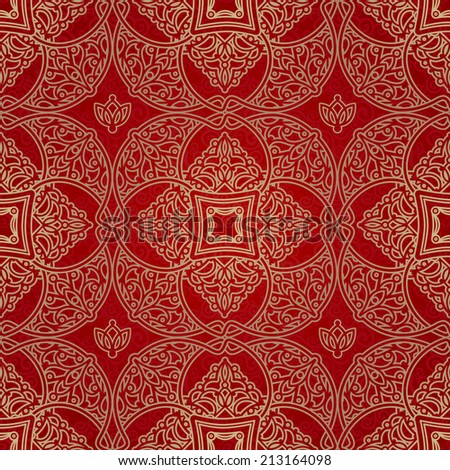 Vector seamless pattern in Eastern style. Element for design. Ornamental backdrop. Brocade lace background. Ornate floral decor for wallpaper. Traditional golden tracery on red pattern fill. - stock vector