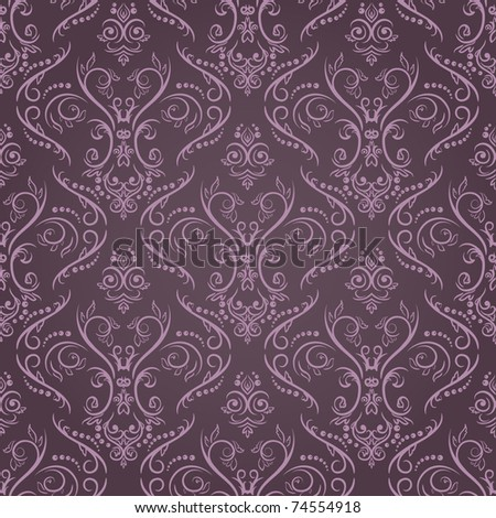 Vector seamless pattern in retro style with floral elements - stock vector