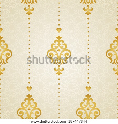 Vector seamless pattern in Victorian style. Element for design. Ornamental backdrop. Golden floral background. Ornate decor for wallpaper. Endless texture. Deluxe pattern fill. - stock vector