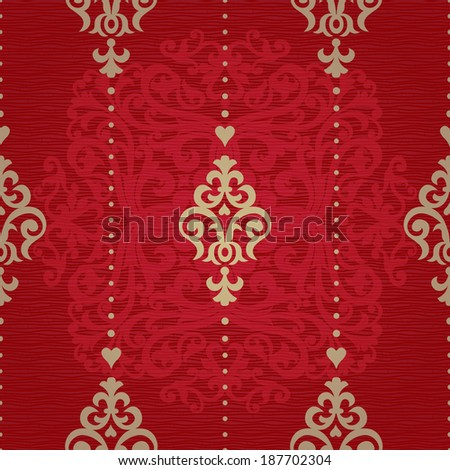 Vector seamless pattern in Victorian style. Element for design. Ornamental backdrop. Golden floral ornament on red background. Ornate decor for wallpaper. Endless texture. Deluxe pattern fill. - stock vector