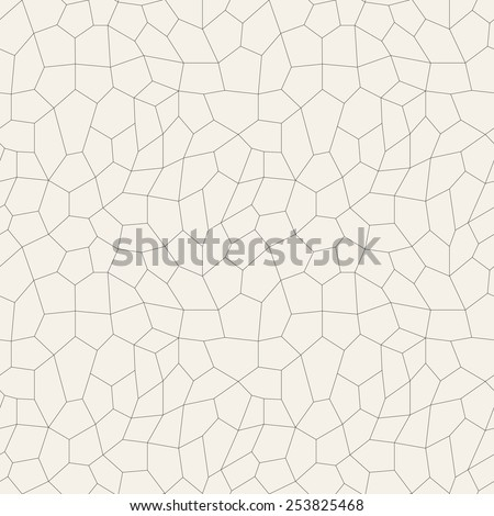 Vector seamless pattern. Irregular abstract grid background. Reticulated vector texture. Modern linear polygonal trellis - stock vector
