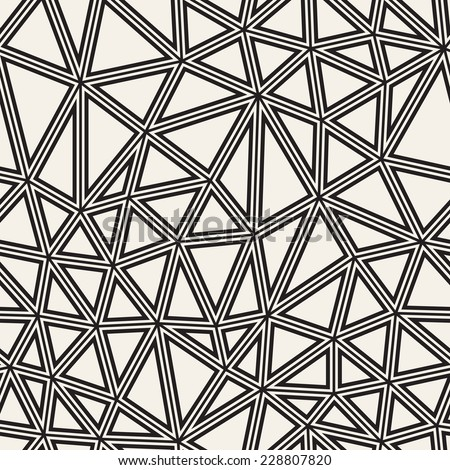 Vector seamless pattern. Irregular abstract linear grid. Graphical hand drawn background. Reticulated monochrome texture with triangles - stock vector