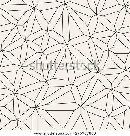 Vector seamless pattern. Irregular abstract linear grid. Graphical hand drawn background. Reticulated monochrome texture. Trendy graphic design. - stock vector