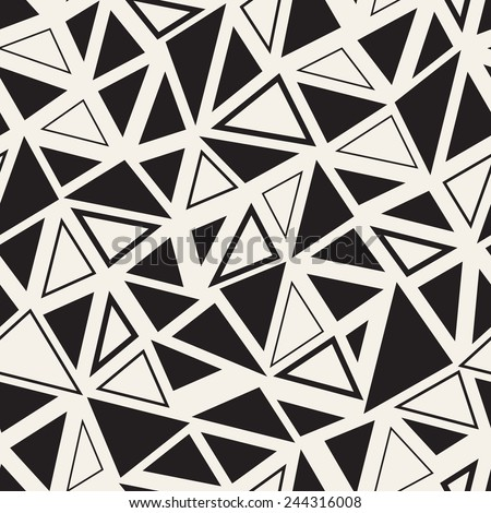 Vector seamless pattern. Irregular abstract linear grid. Graphical hand drawn background. Chaotic monochrome texture with triangles - stock vector