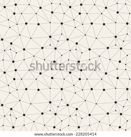 Vector seamless pattern. Irregular abstract linear grid with circles in nodes. Graphial hand drawn background. Reticulated monochrome texture - stock vector