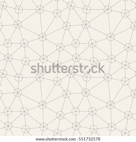 Vector seamless pattern. Irregular abstract linear grid with circles in nodes. Graphial hipster background. Reticulated monochrome texture.