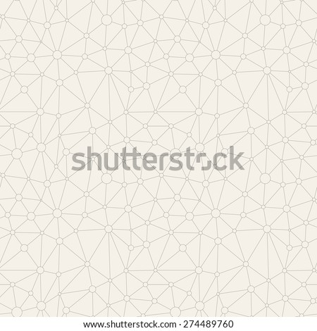 Vector seamless pattern. Irregular abstract linear grid with circles in nodes. Trendy hand drawn background. Reticulated monochrome texture. Hipster triangular trellis. Modern graphic design. - stock vector