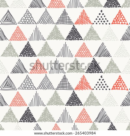 Vector seamless pattern. Irregular abstract swatch with dotted triangles. Graphical hand drawn background. Reticulated monochrome texture. Hipster stylish print - stock vector