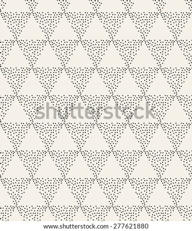 Vector seamless pattern. Irregular abstract swatch with dotted triangles. Graphical hand drawn background. Reticulated monochrome texture. Hipster stylish print. - stock vector