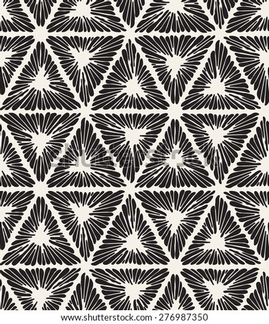 Vector seamless pattern. Irregular abstract swatch with ornate triangles. Graphical hand drawn background. Reticulated monochrome texture. Hipster stylish print - stock vector