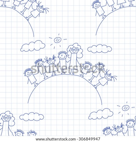 Vector seamless pattern. Kids, school and education image