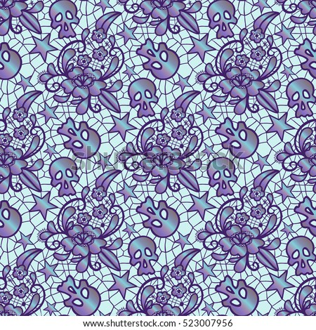 Vector Seamless Pattern Lace With A Flower Ornament Skulls And Stars Retro Ornate