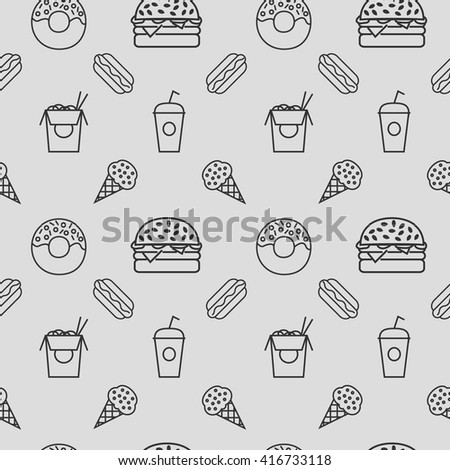 Vector seamless pattern. Line fast food for menu, cafes, restaurants, bars