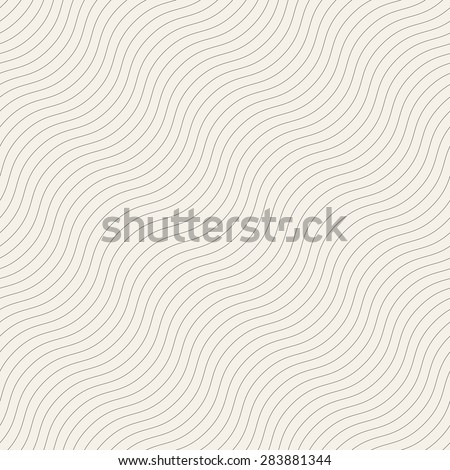 Vector seamless pattern. Linear diagonal waves. Monochrome simple texture. Modern minimalistic graphic design.  - stock vector