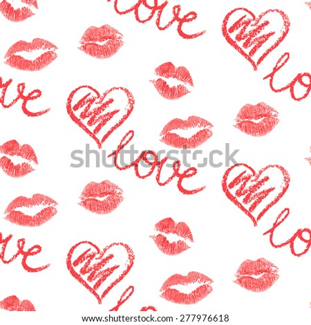 Vector seamless pattern - lips prints on white background - stock vector